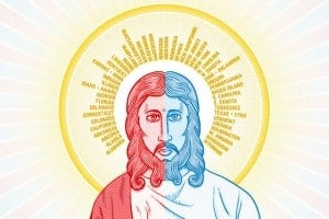 Red State/Blue State Jesus from linked CNN article